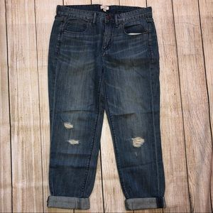 J. Crew Distressed Medium Wash Boyfriend Jean 27